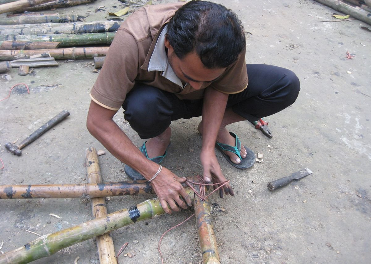 Community participation led to the discovery of the expertise and skills plus local  materials such as home-grown bamboo