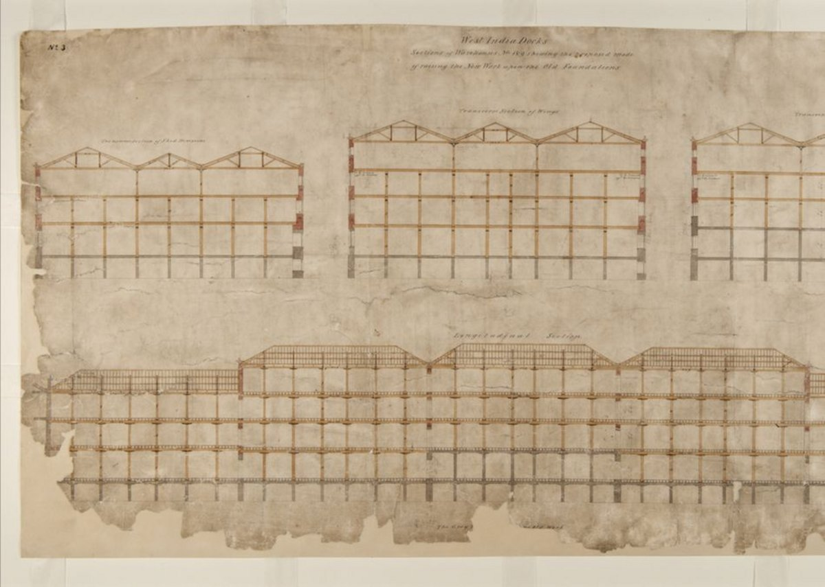 Elevation of Nos.1 and 9 warehouses.