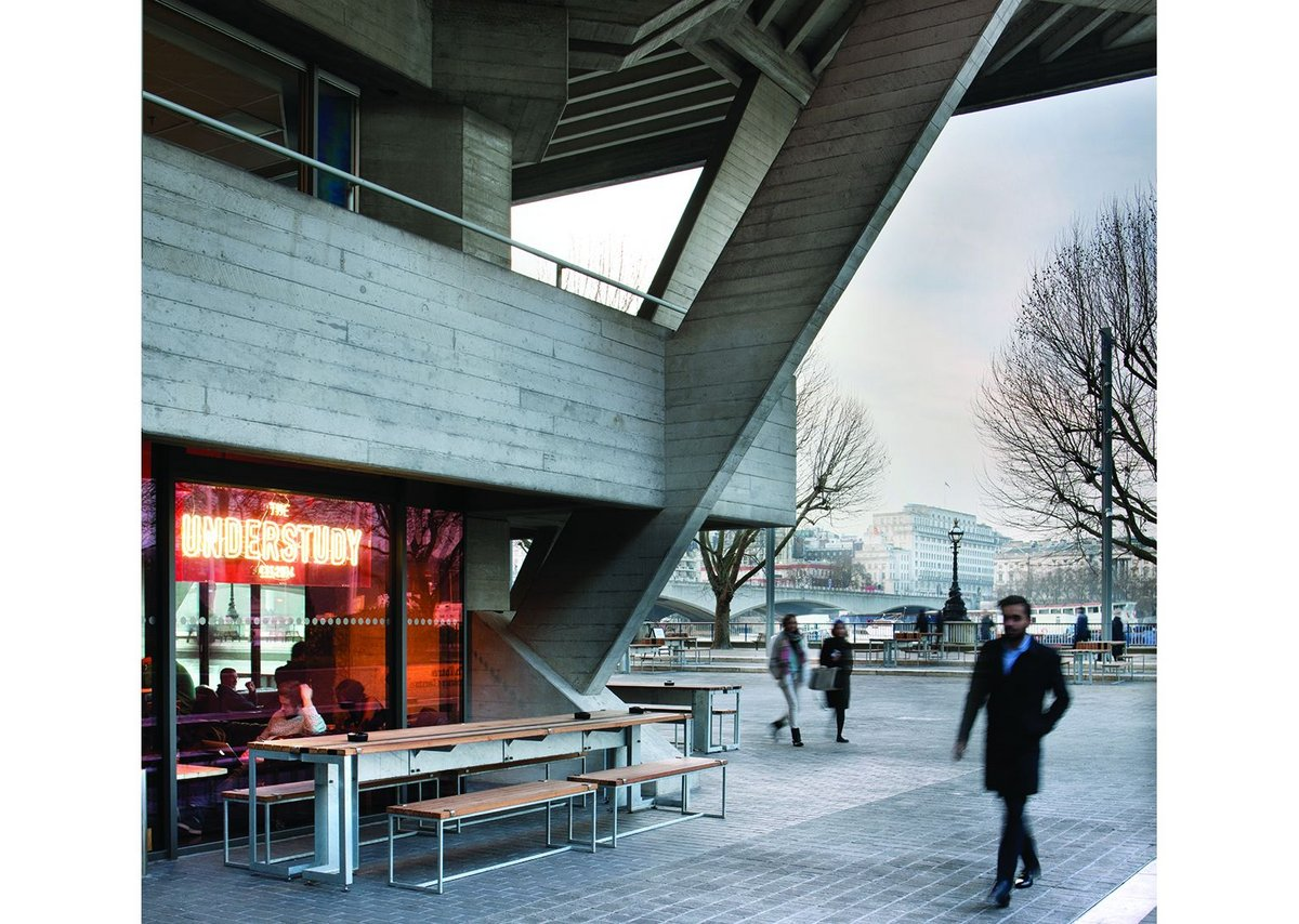 Lasdun's marvellous downstream corner, once a service area, now houses a bar.