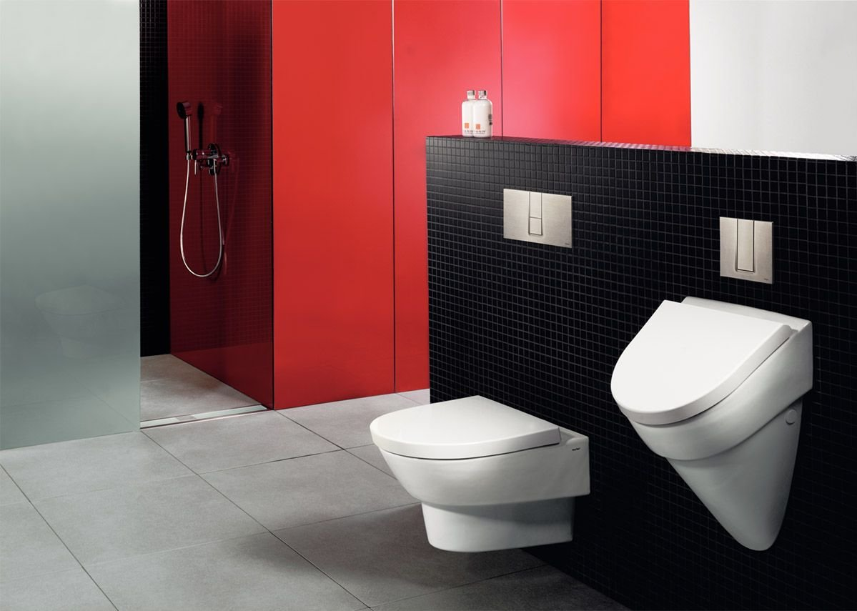 Freestanding bathroom partitions can be created with pre-wall systems.