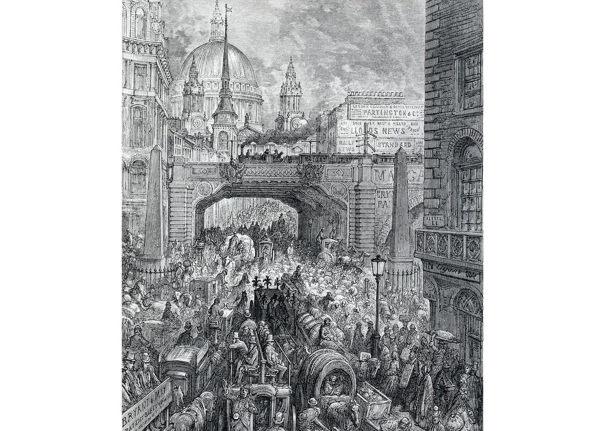 Traffic jams from another time. Illustration of Ludgate Hill by Gustav Dore. TfL from the London Transport Museum collection, www.ltmuseum.co.uk.