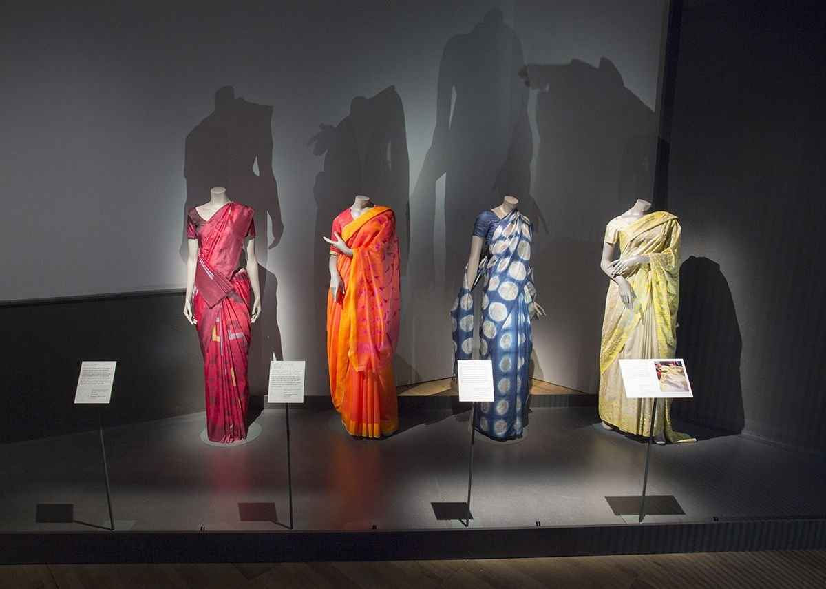 Richly coloured saris.