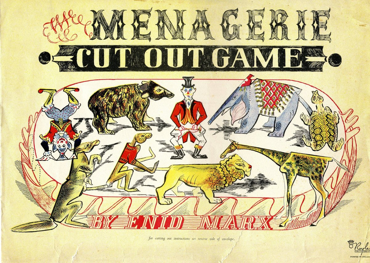 Envelope for Menagerie Cut Out Game, Royle Publications, 1947, 23x30cm.