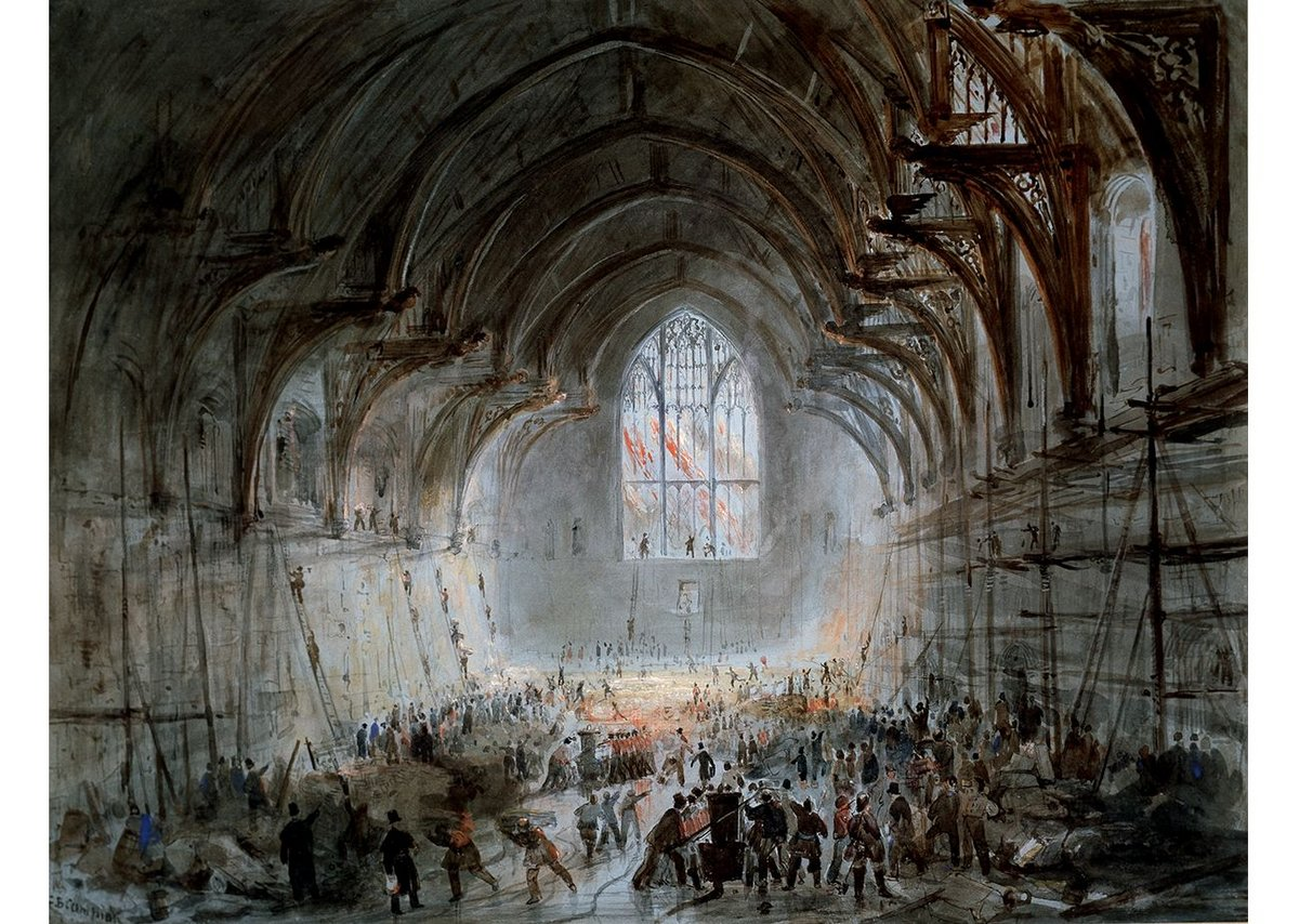 Westminster Hall on Fire 1834. Water colour by George B. Campion 1834 © Parliamentary Art Collection
