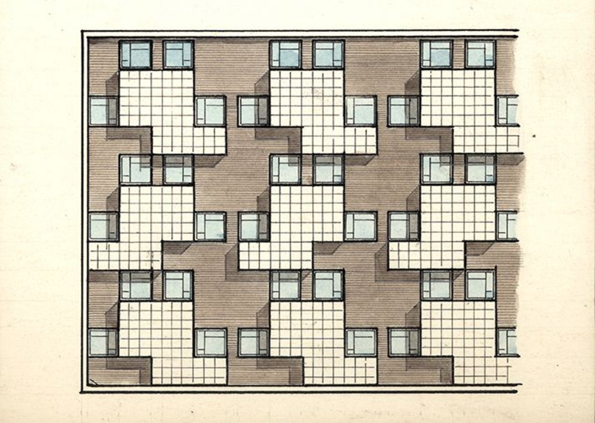 Berthold Lubetkin, Unexecuted alternative design for a prefabricated house front, 100 Houses Scheme, Thorntree Gill Housing, Peterlee.