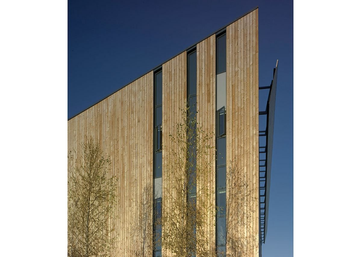 Feilden Clegg Bradley Studios' Woodland Trust, Grantham, with its timber structure.