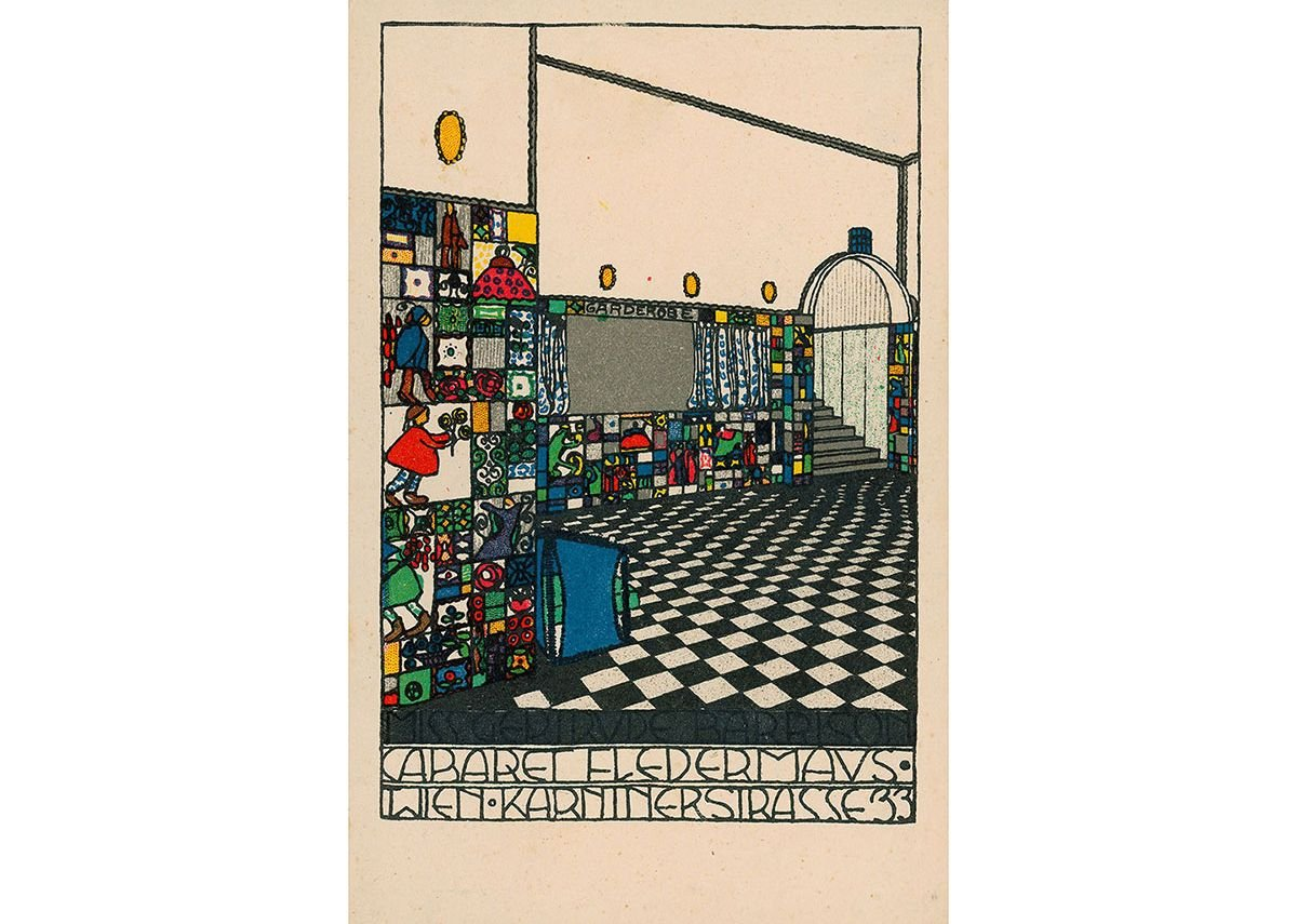 Josef Hoffmann, Wiener Werkstätte, Postkarte No. 74 (Interior view of the bar at the Cabaret Fledermaus, Collection of Leonard A. Lauder