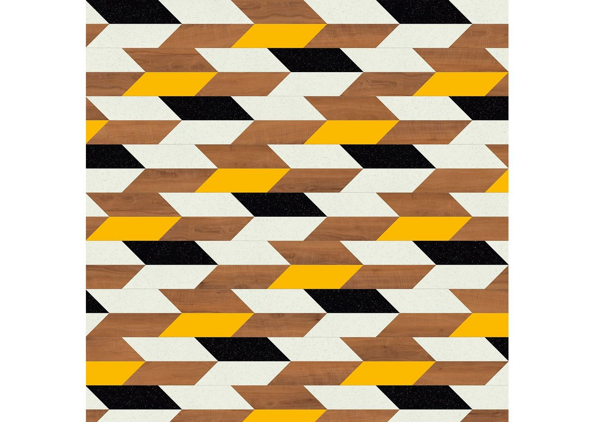 Samoan pattern. Created using the Arrow laying pattern, this combines Ashdown Plum, Glint Orb, Glint Void and Napoli.