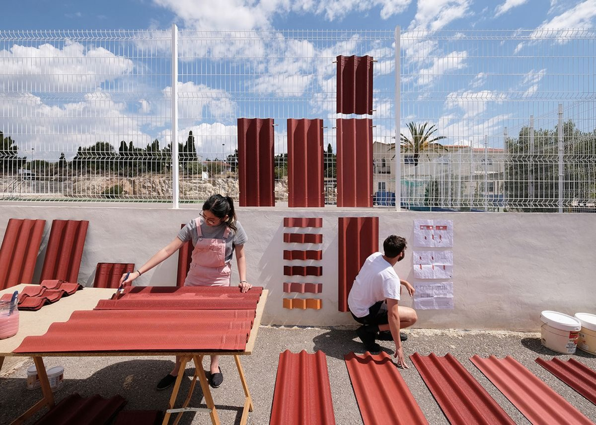 Preparing the cladding for Benni Allan's super-low-cost primary-school renovation in Spain