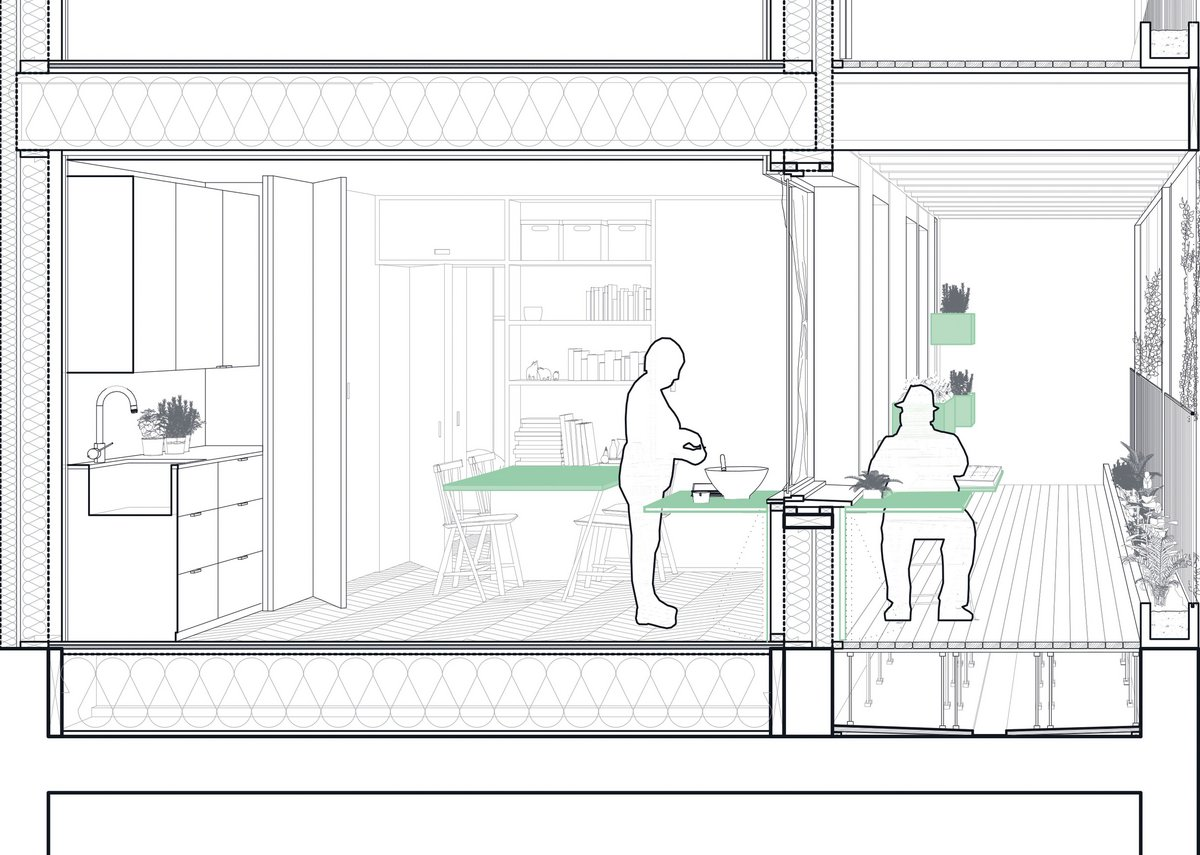 Perspective section showing apartment kitchen (left) and communal balcony.