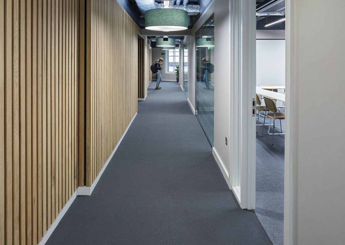 Danfloor's Nordform Classic XL high performing flat woven carpet at Southbank International School.