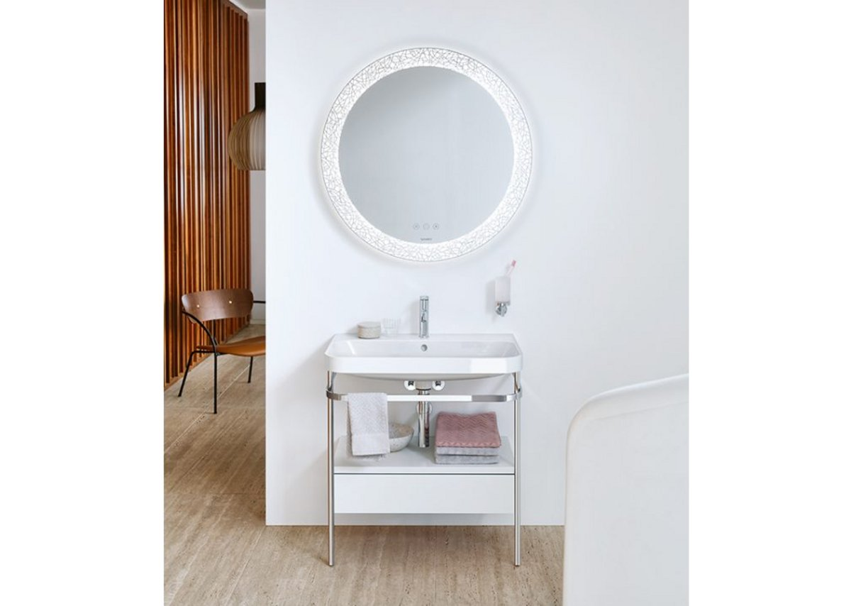 Happy D.2 Plus C-shaped washbasin with metal console in Chrome, furniture unit in White High Gloss, mirror in Organic finish and C.1 tap.