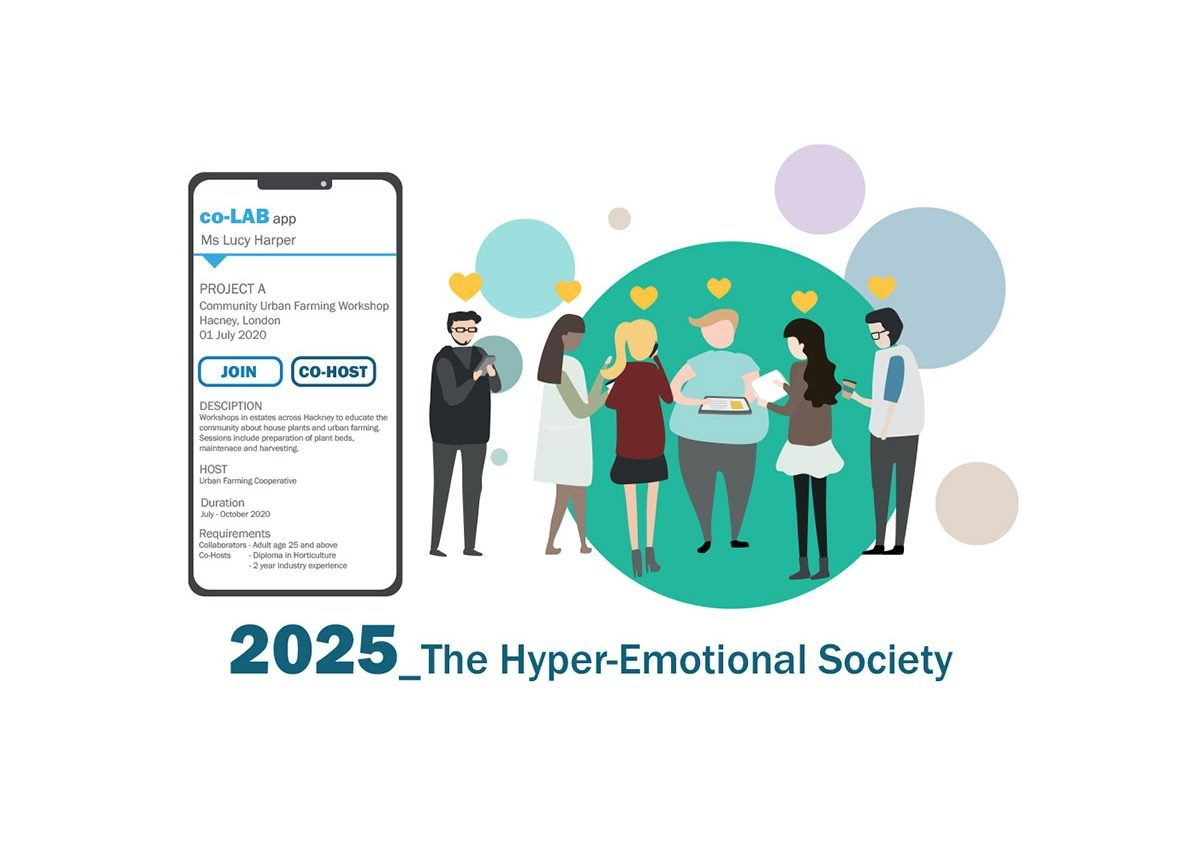 Hyper-Emotional Society: The pandemic has caused an evolution towards a hyper-emotional society as we re-evaluate life priorities to become less driven by financial motivations and more by personal emotion and interests. Transforming the way we operate using a work-joining project app, micro home labs and forums.