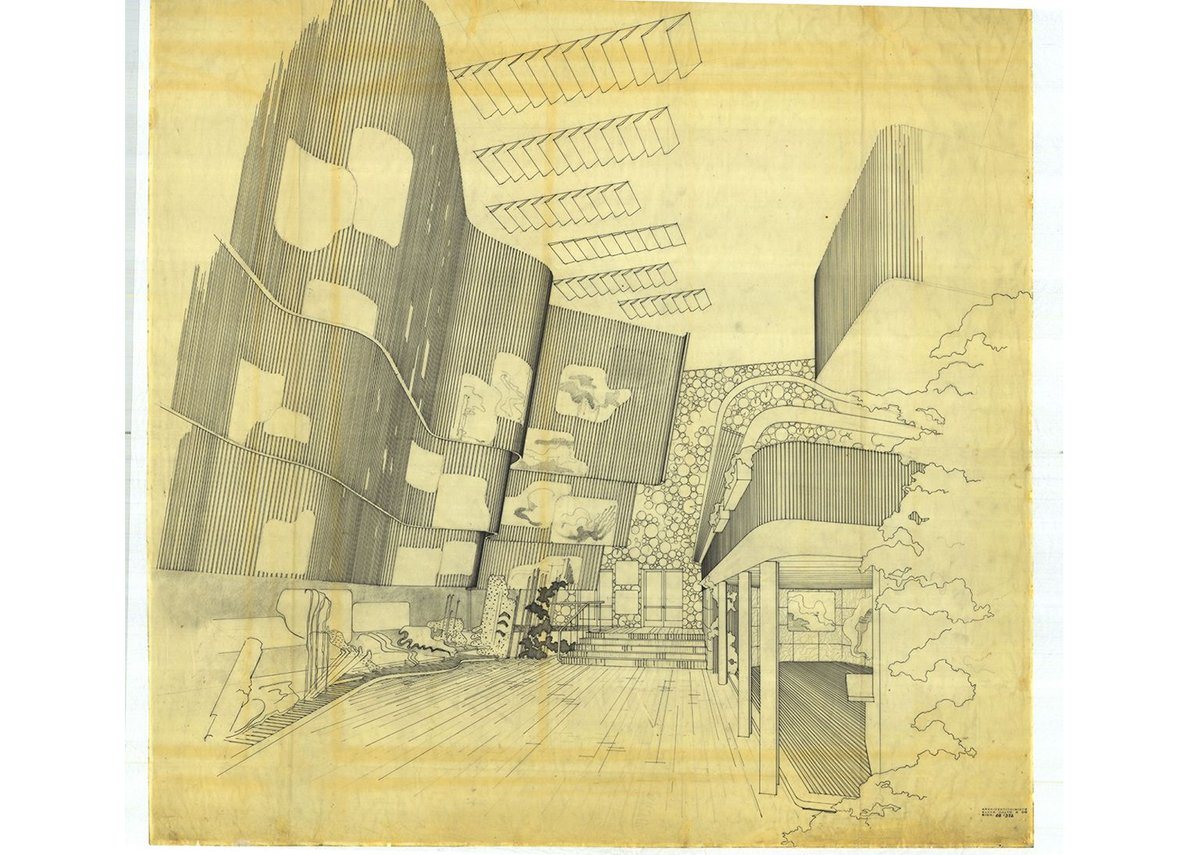 Alvar Aalto's drawing of the Finnish Pavilion at the New York World's Fair, 1939-40