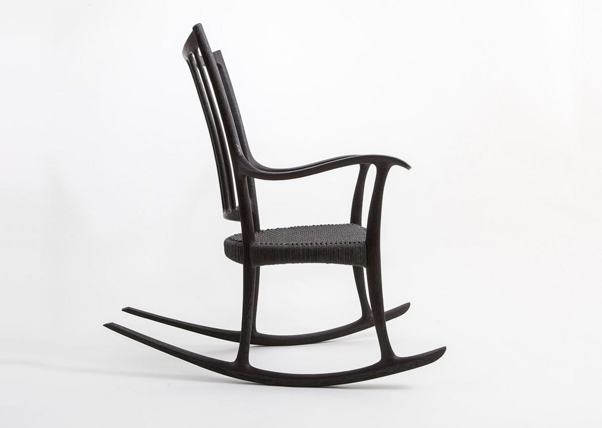Scorched Oak Rocking Chair by Edward Barnsley Workshop.