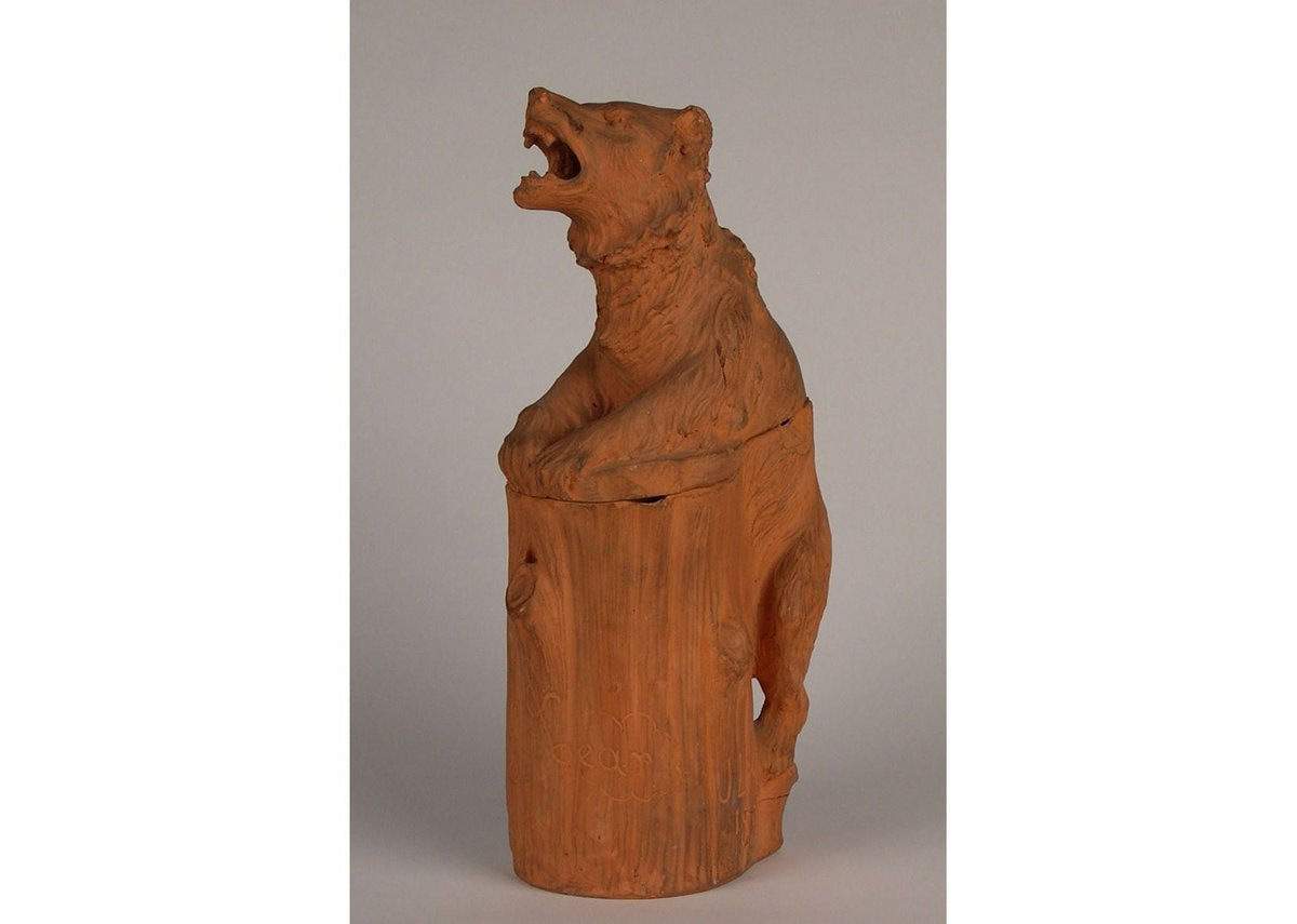 Terracotta tobacco jar and cover in the form of a bear, by Lockwood Kipling, 1896.