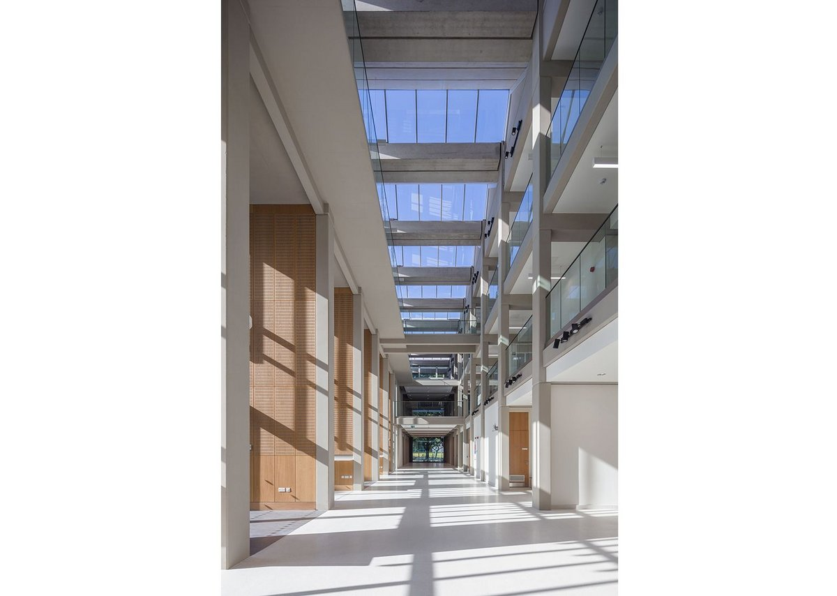 The atrium at Alan Walters Building, University of Birmingham, designed by Berman Guedes Stretton