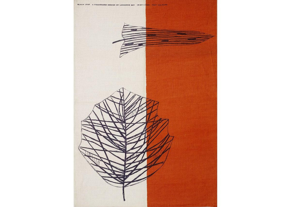 Black Leaf tea towel, Lucienne Day, Thomas Somerset, 1959. Copyright the Robin & Lucienne Day Foundation.