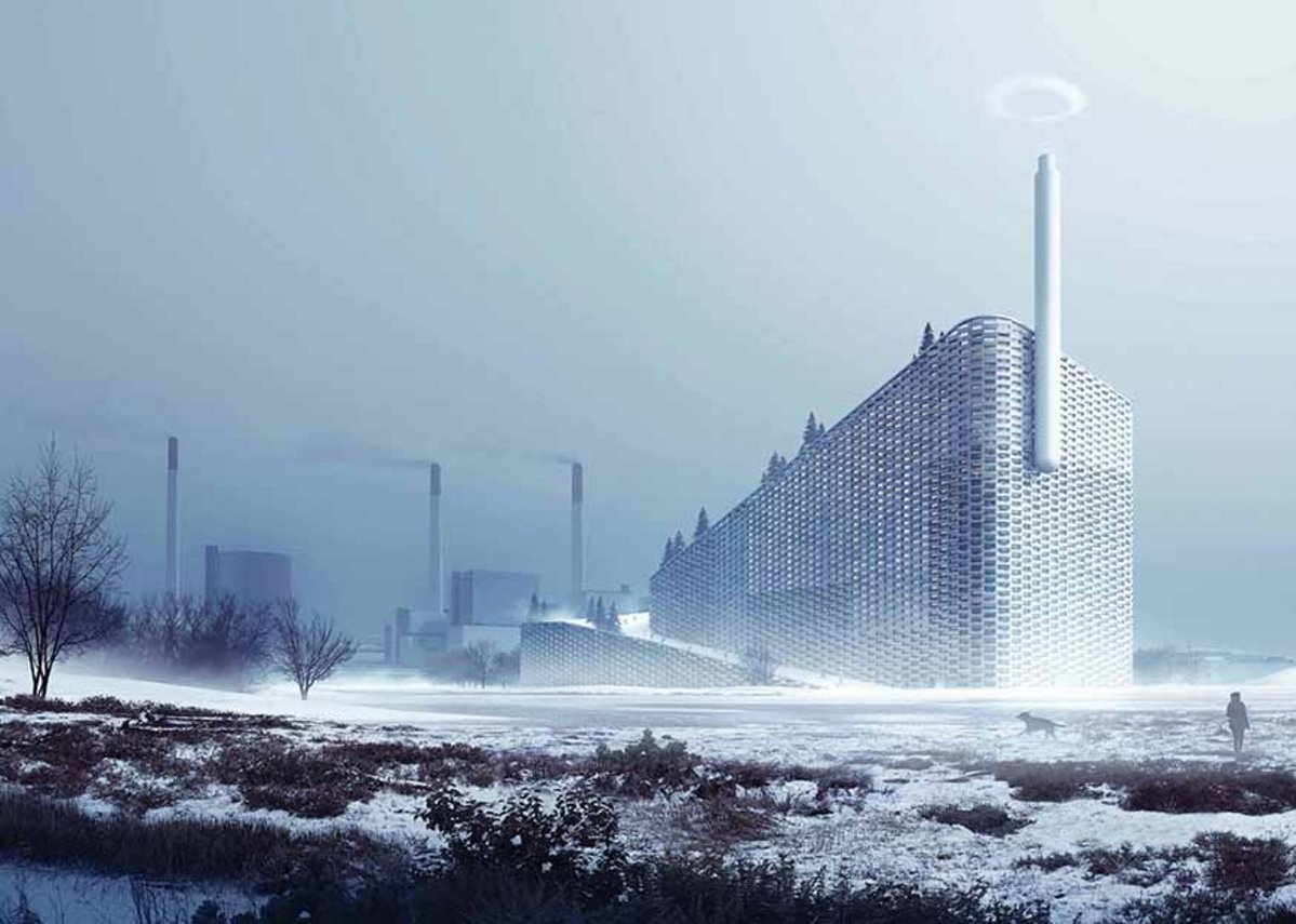 BIG's Amager Bakke waste to power plant in Copenhagen, under construction. The firm commissioned bods at the University to create the ring of steam that pumps out each time 1 tonne of CO2 is saved.