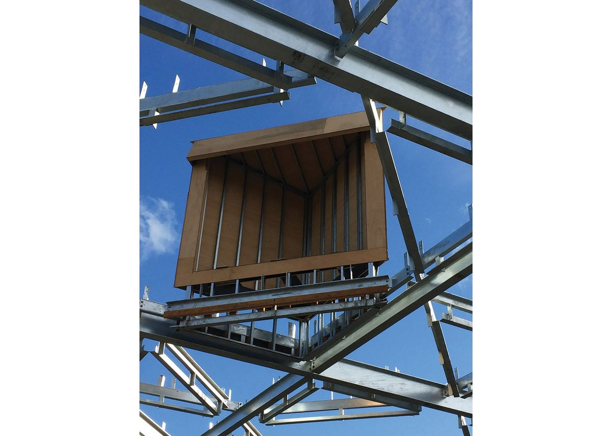 Steel studs and marine ply form the body of the lantern; it all sits on steel C-sections.