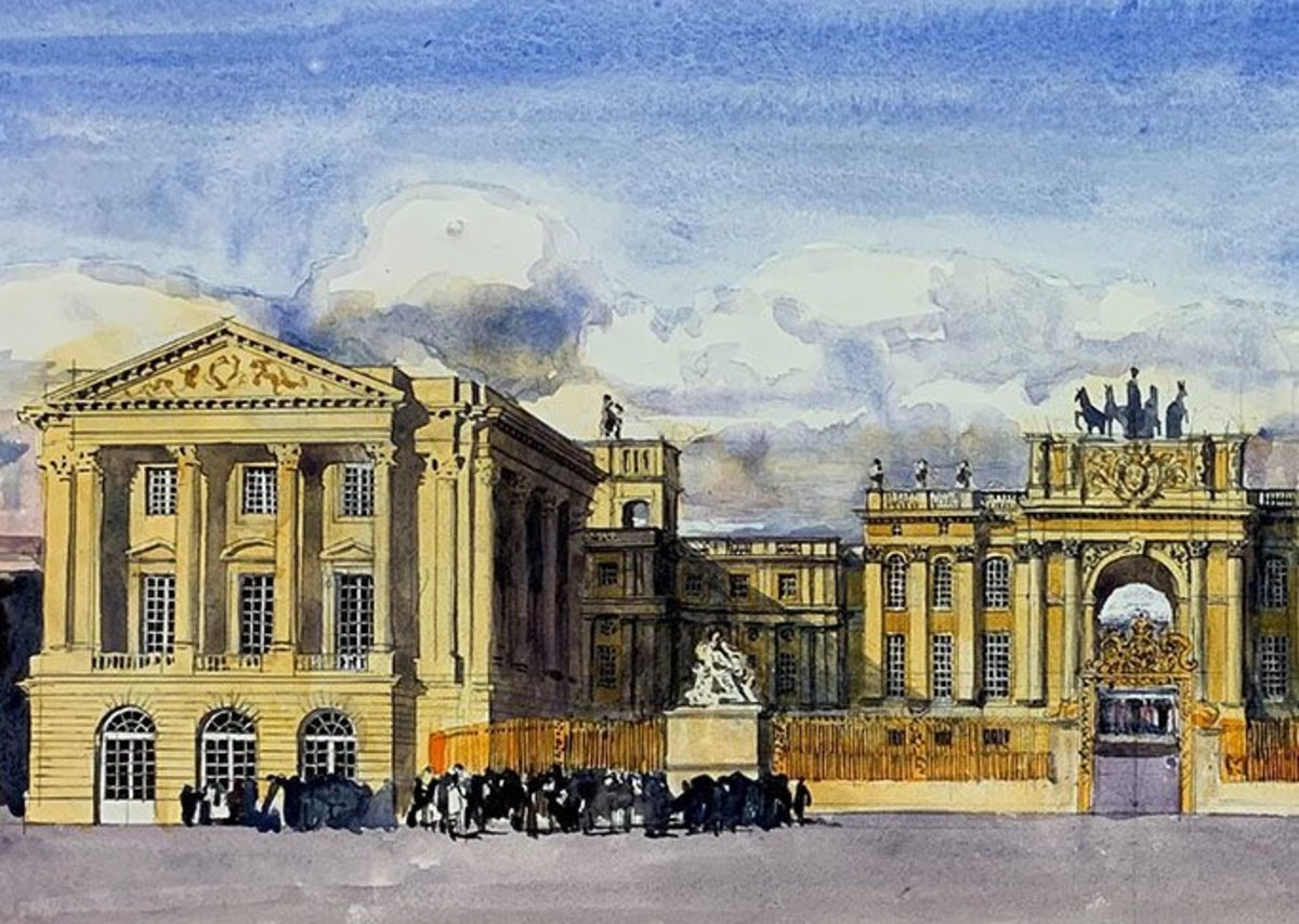Front Facade of Versailles with my improvements (watercolour  620mm × 270mm)