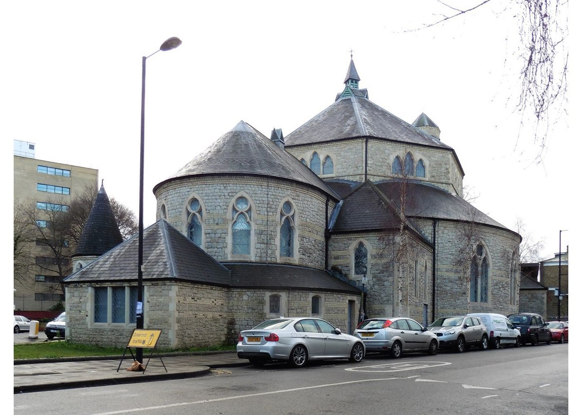 Externally St George's Church in Tufnell Park, London, has a fairy-tale quality in its use of different compositional volumes, as well as motifs inspired by the buildings Truefitt saw during his trip to the continent as a young man.