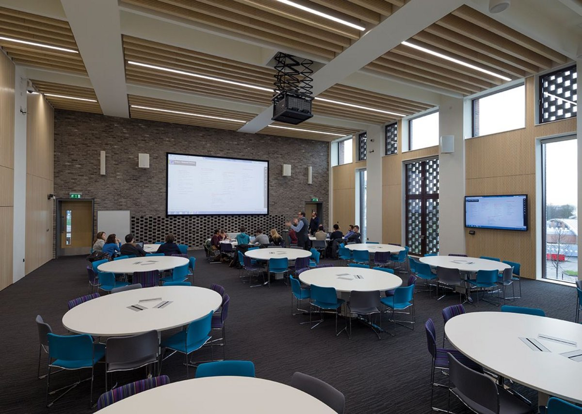 Teaching room arranged in group-working format.