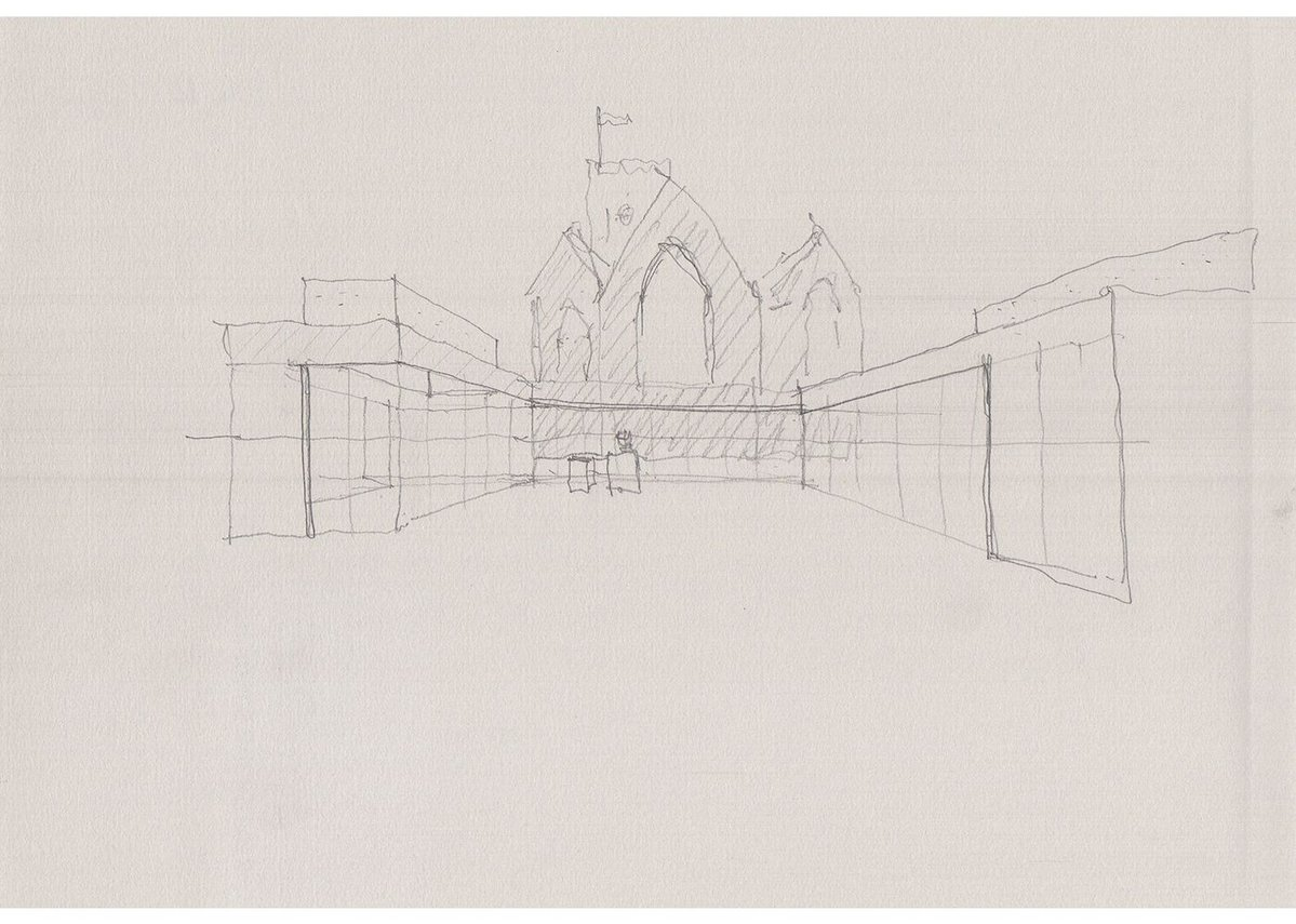 Early sketch of the interior of the cloister.