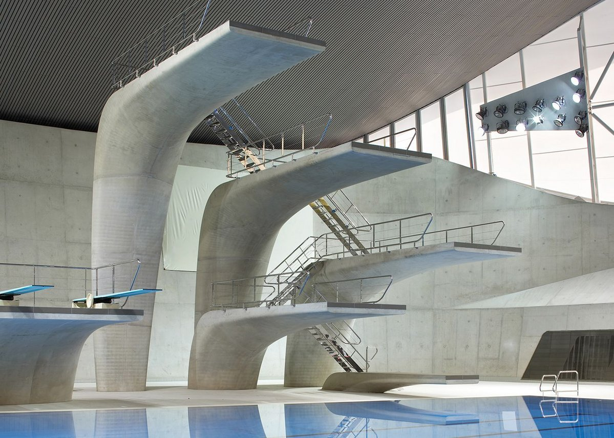 Aquatics Centre, Queen Elizabeth Park, London, by Zaha Hadid Architects.