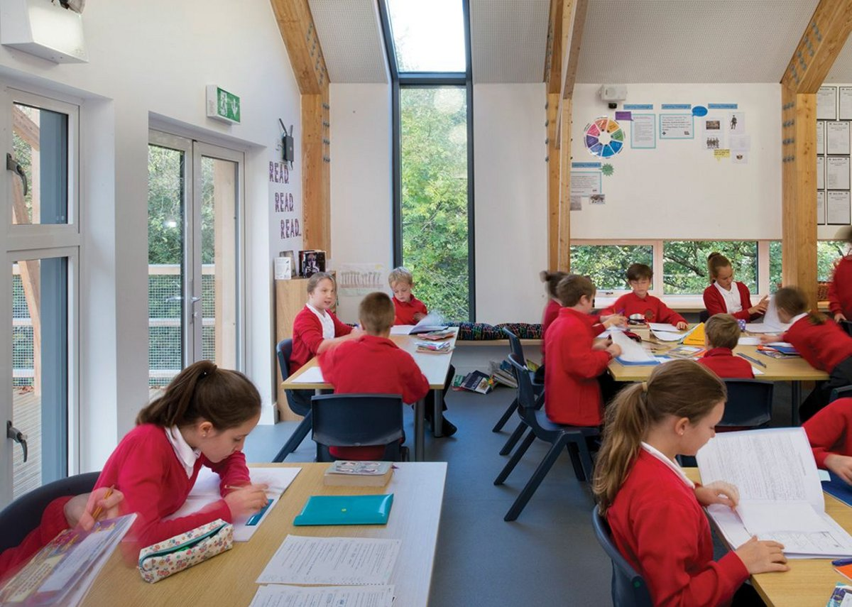 Classroom windows effect a direct relationship with the immediate landscape.