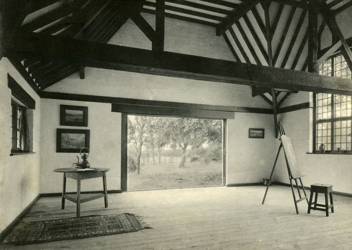 Barry Parker (1867-1947). Photograph: The Den, studio of the artist CJ Fox in Letchworth Garden City. Courtesy of the Garden City Collection. From Barry Parker: Architecture for All at the Broadway Gallery in Letchworth.