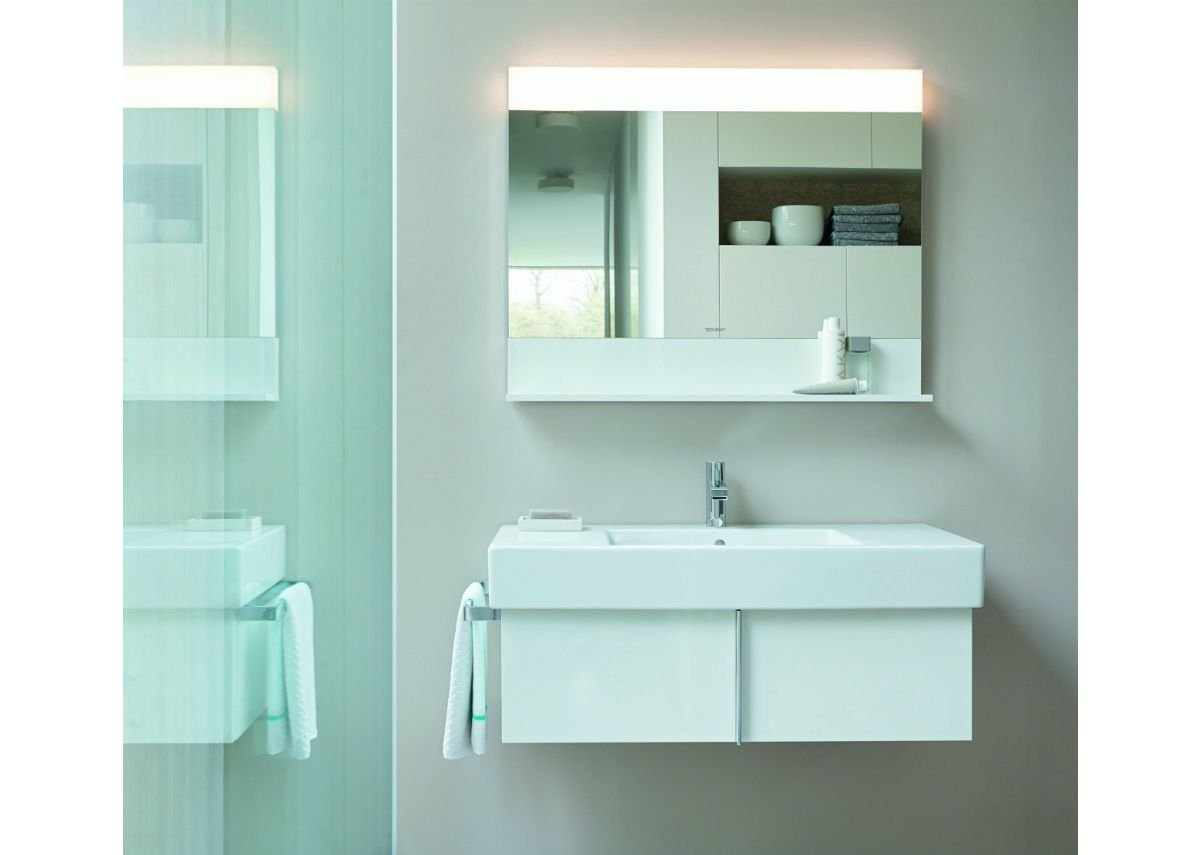 The high-gloss white finish highlights the furniture collection's cubic credentials.