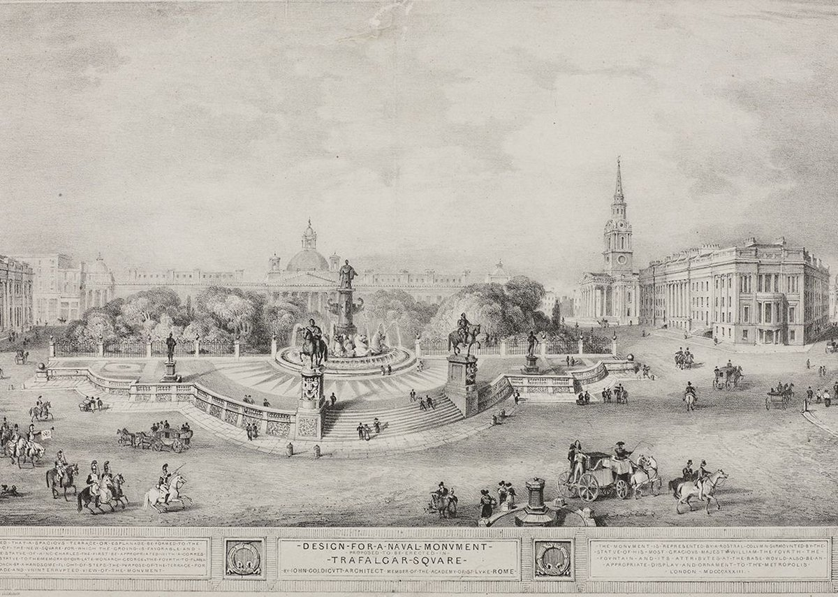 Although named Trafalgar Square in commemoration of Lord Nelson and the Battle of Trafalgar, the central space in John Goldicutt's design was given to statues of Charles I, George IV and William IV, 1835 © London Metropolitan Archives.