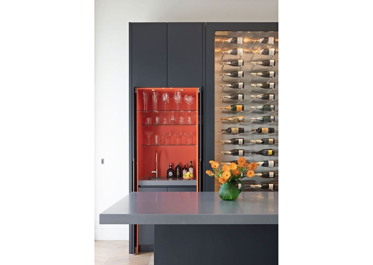 Metro matt lacquer bespoke kitchen with wine conditioning cabinet. Designed in collaboration with Samantha Todhunter and Tim Clarke Residential Property Management.