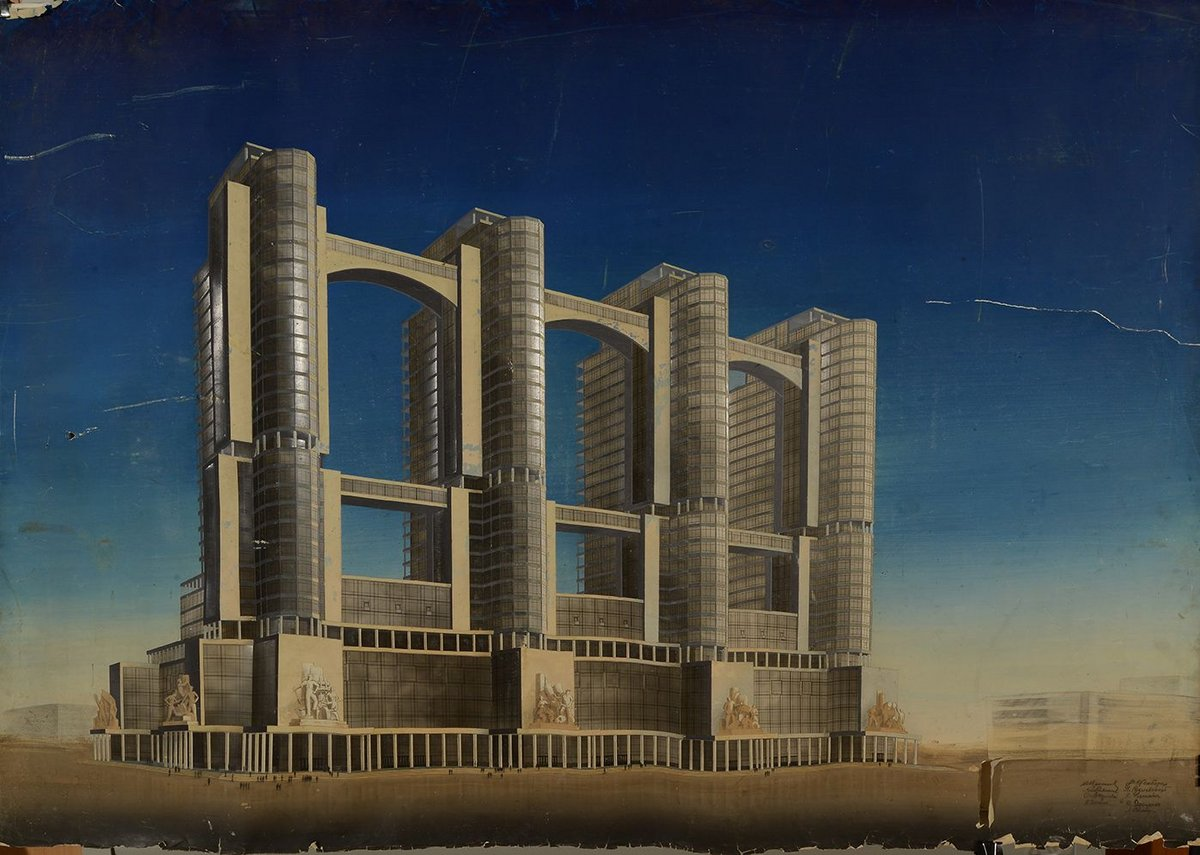 Narkomtiazhprom (Commissariat for Construction and Heavy Industry) competition entry by Vesnin Brothers, 1934.