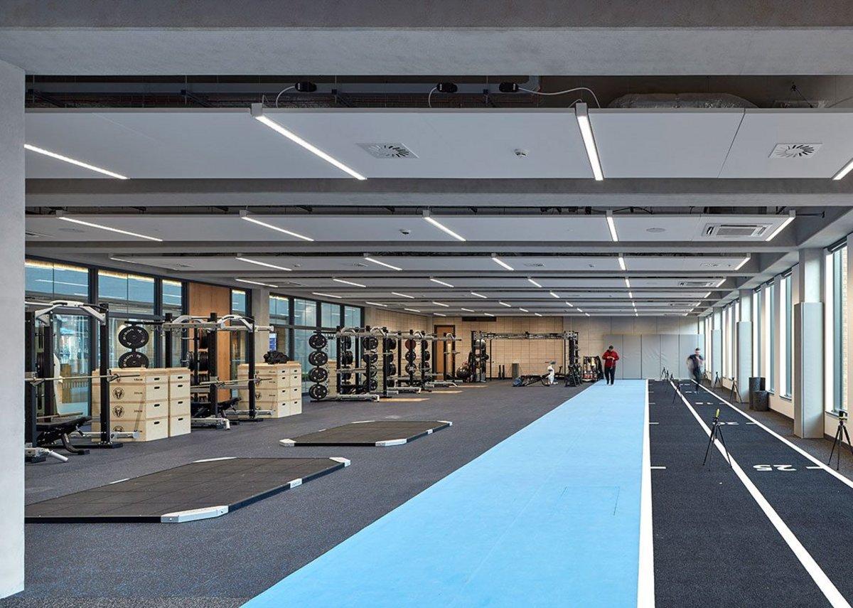 Top floor gymnasium.