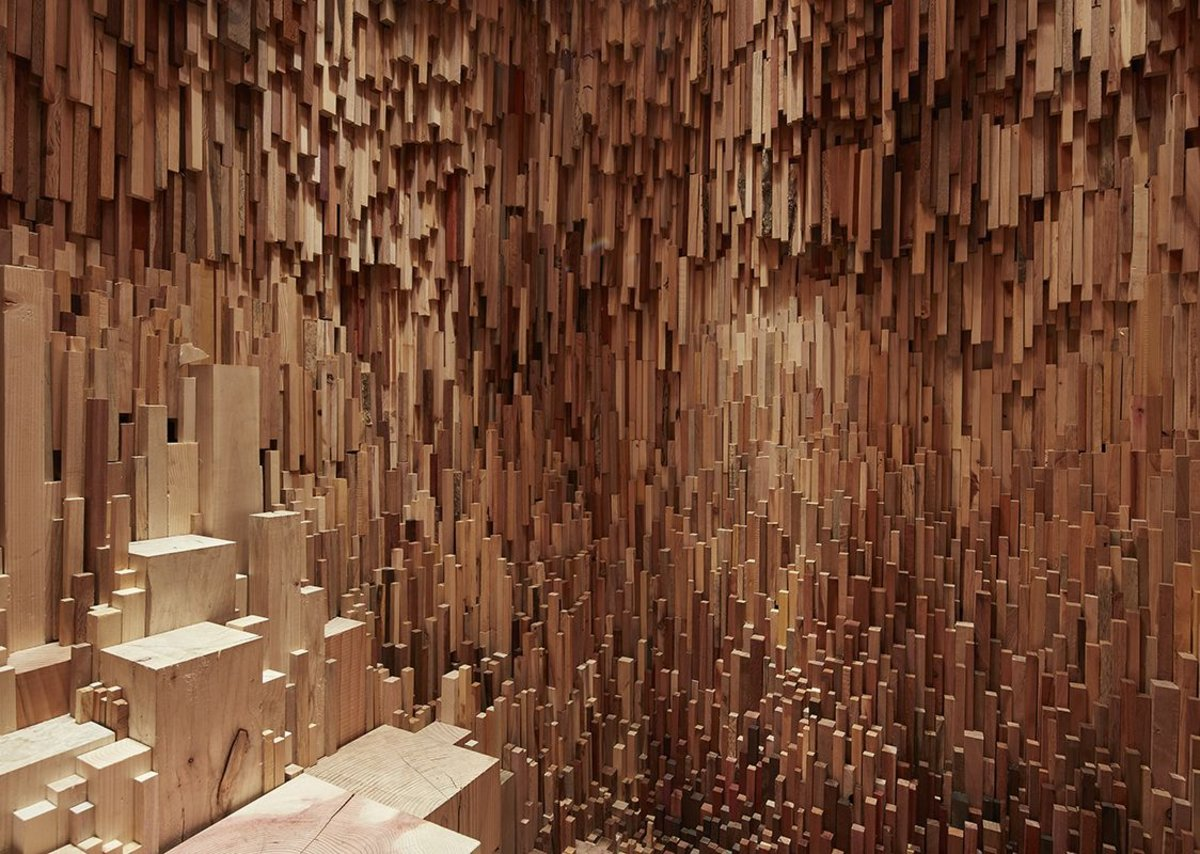 Thousands of pieces of wood gathered from species from all over the world make up the interior.
