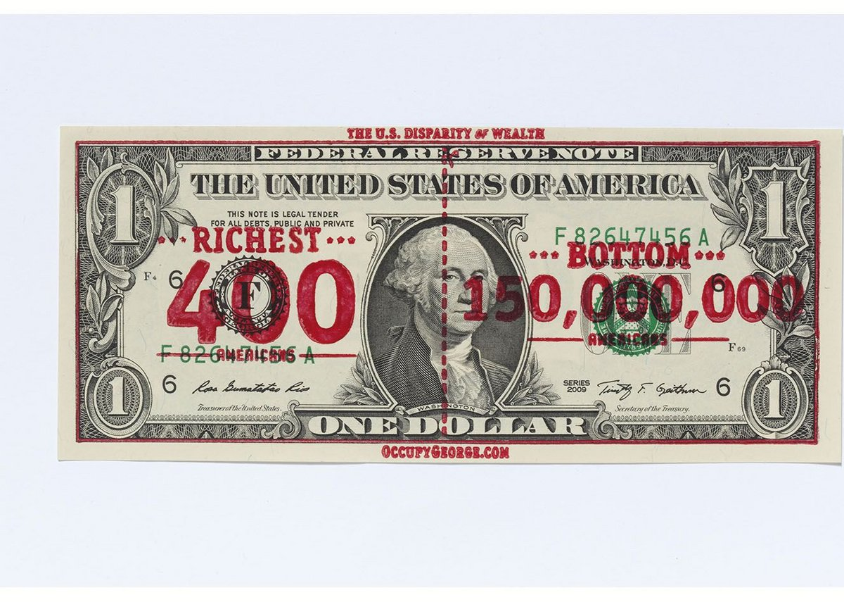 Occupy George overprinted dollar bill.