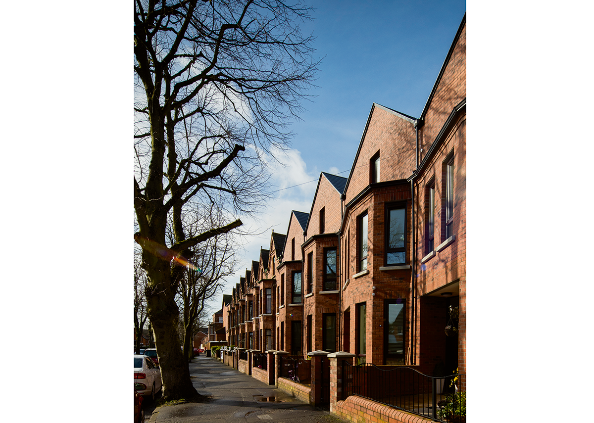 Glandore Drive (2016), Belfast, a development of four new terraced houses that take on the external proportions of the neighbouring Victorian terraces.
