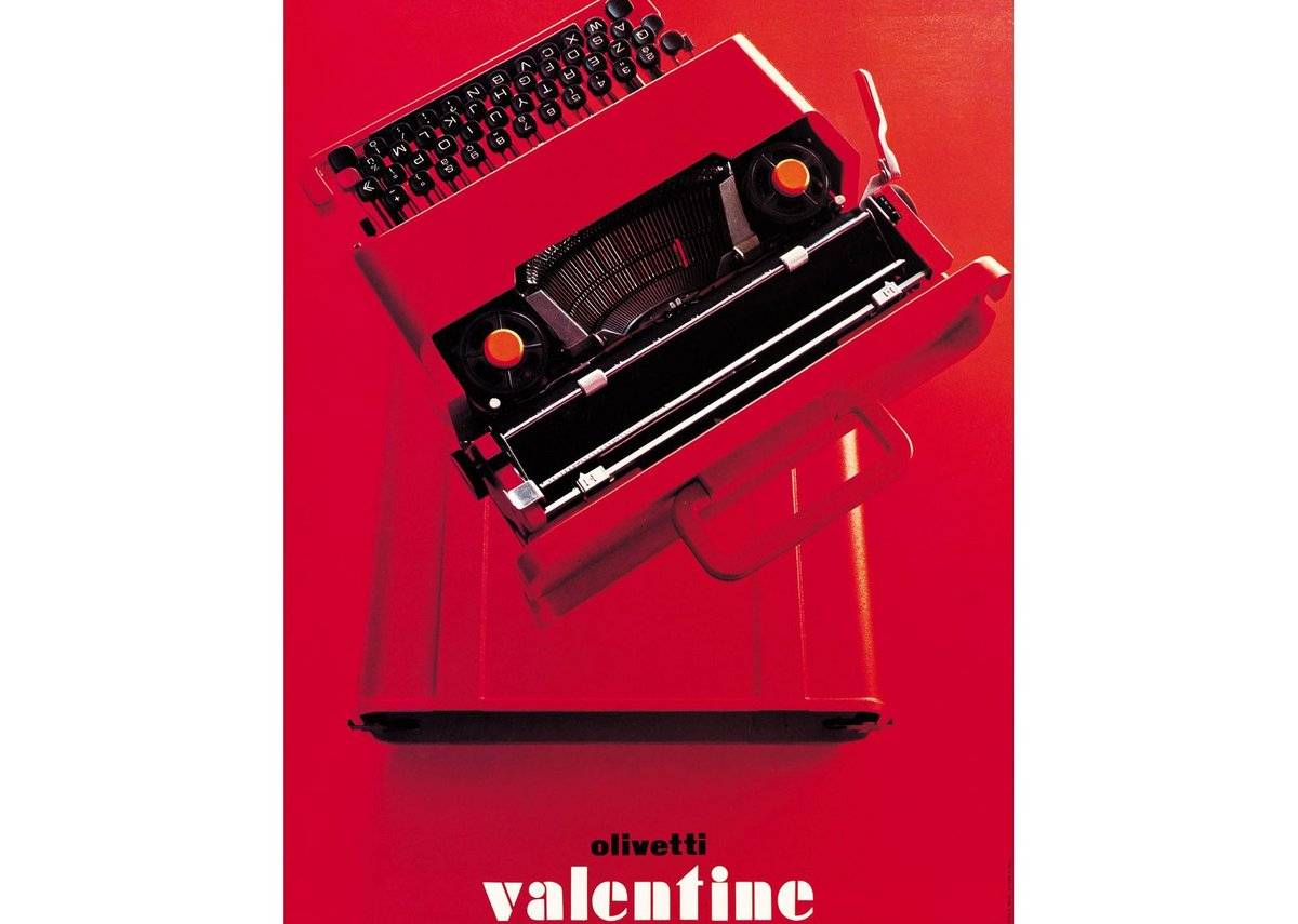 Poster for the Valentine typewriter, designed by Walter Ballmer 1969. Courtesy Associazione Archivio Storico Olivetti, Ivrea – Italy.