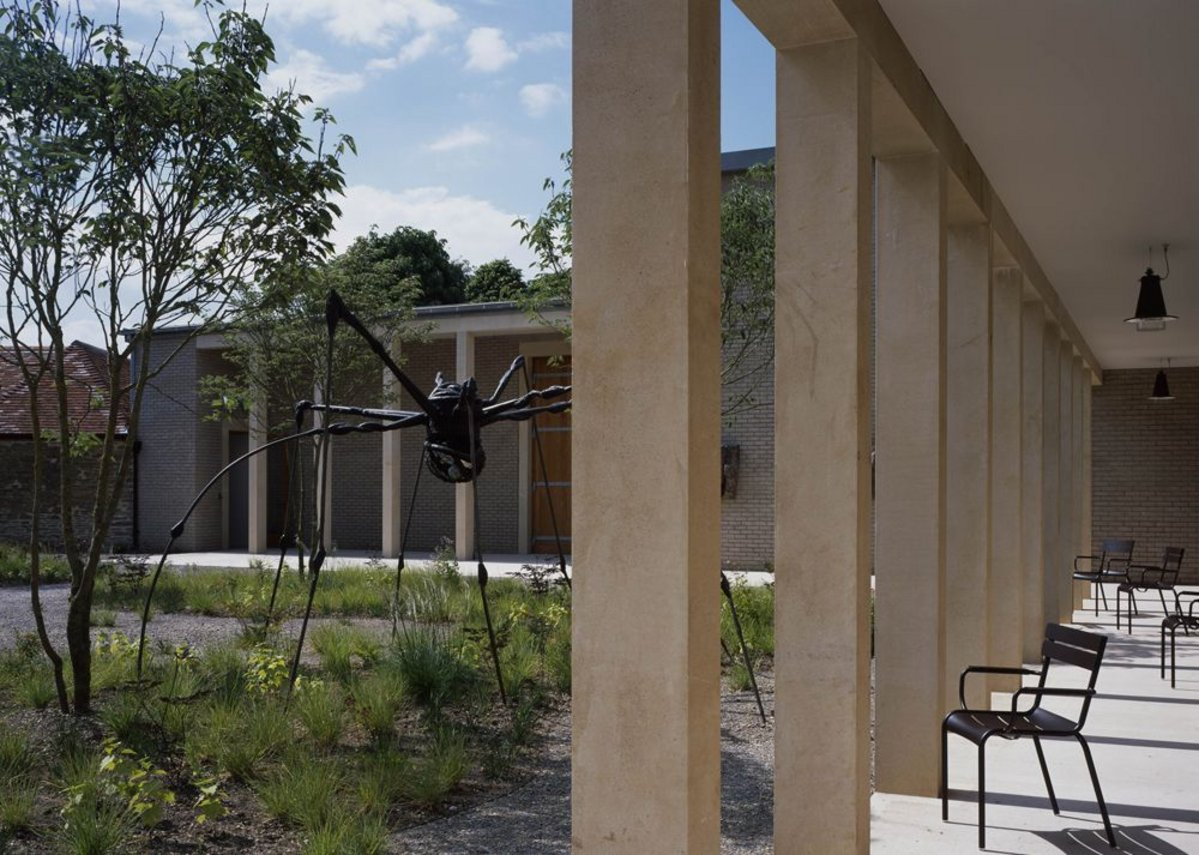 Outdoor spaces are studded with outsize sculpture including Louise Bourgeois' Spider.