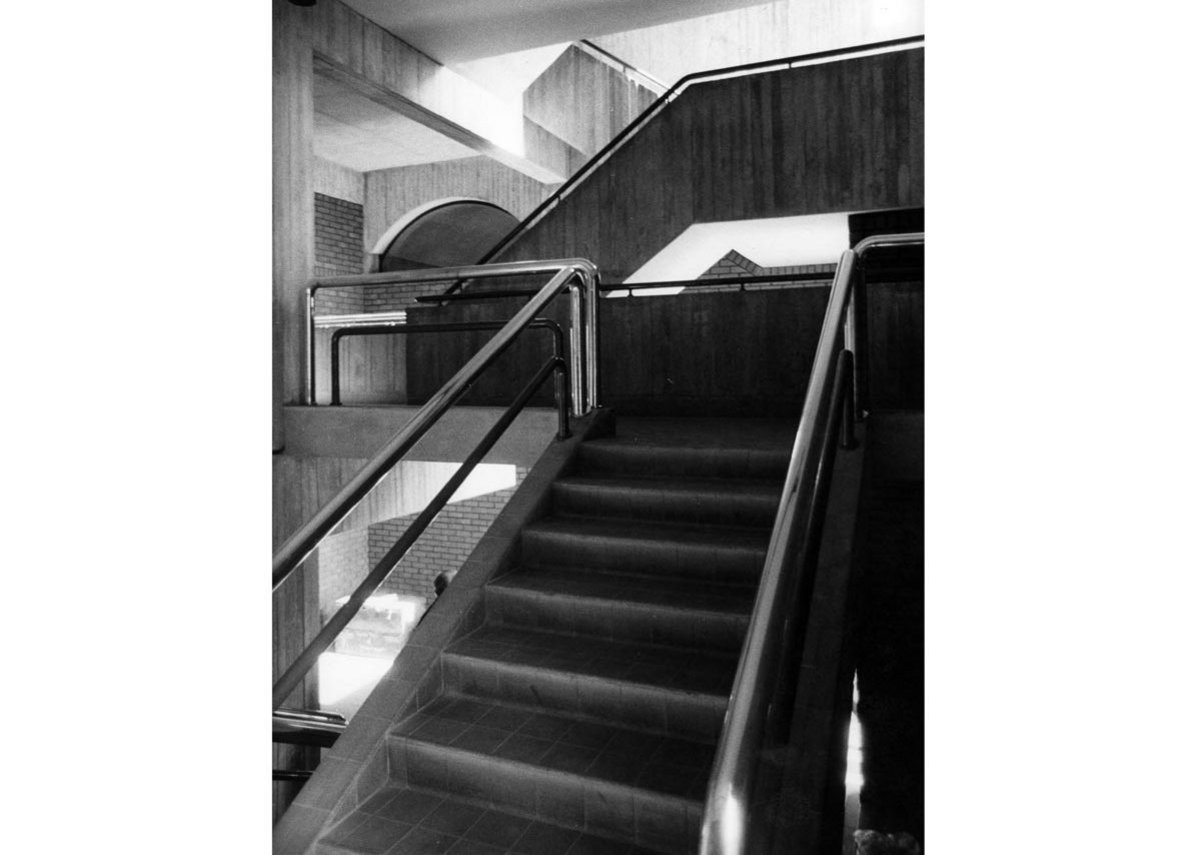 Inside Knightsbridge Barracks – stair and lounge of the sergeants' mess.
