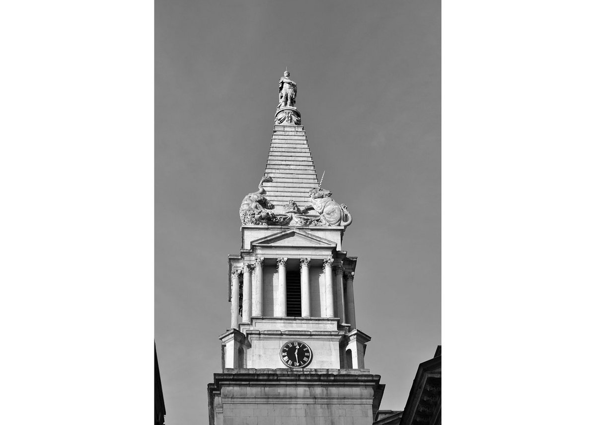 The west front and spire of St George, Bloomsbury.