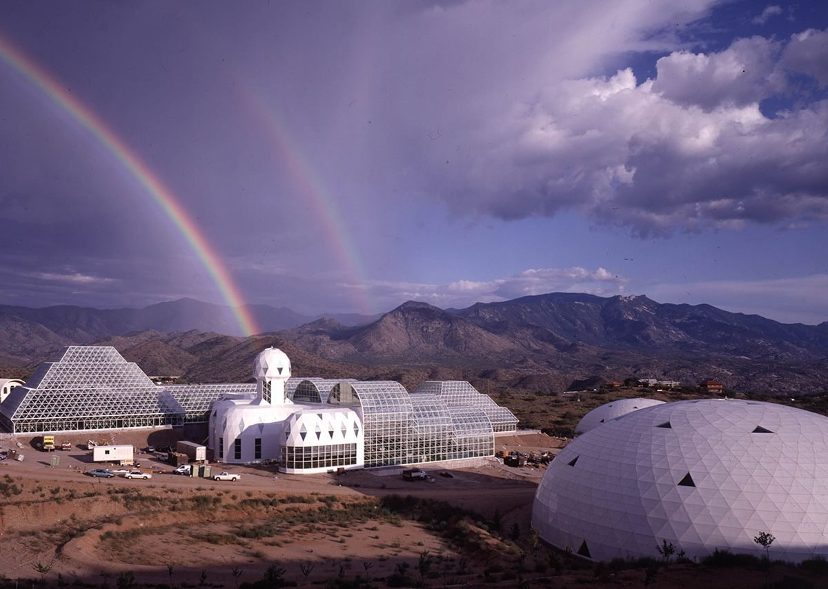 Exterior of the Biosphere 2 complex, built in Arizona. Courtesy of NEON