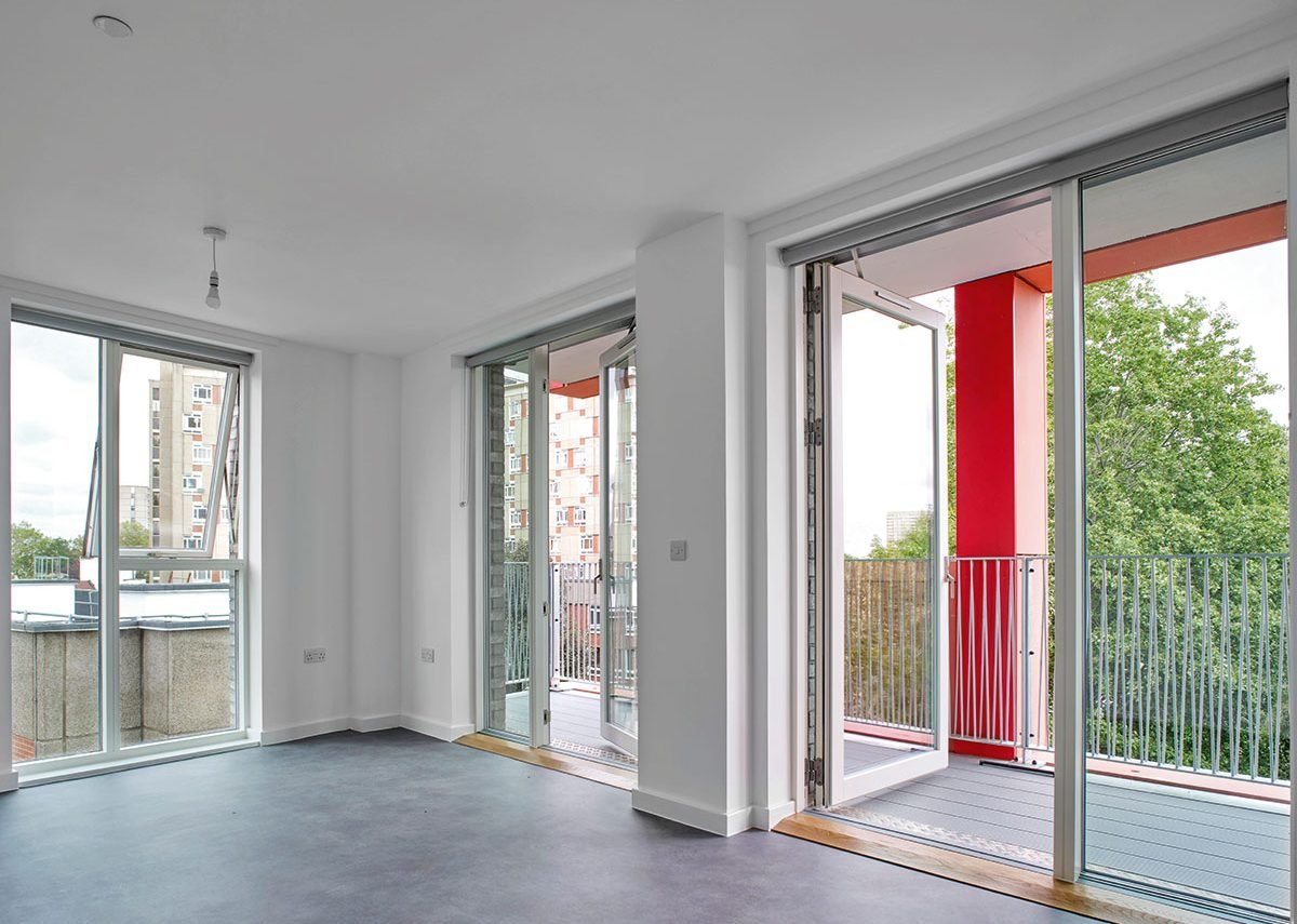 All flats at Orwell House are dual aspect, with living spaces linked externally by balcony.