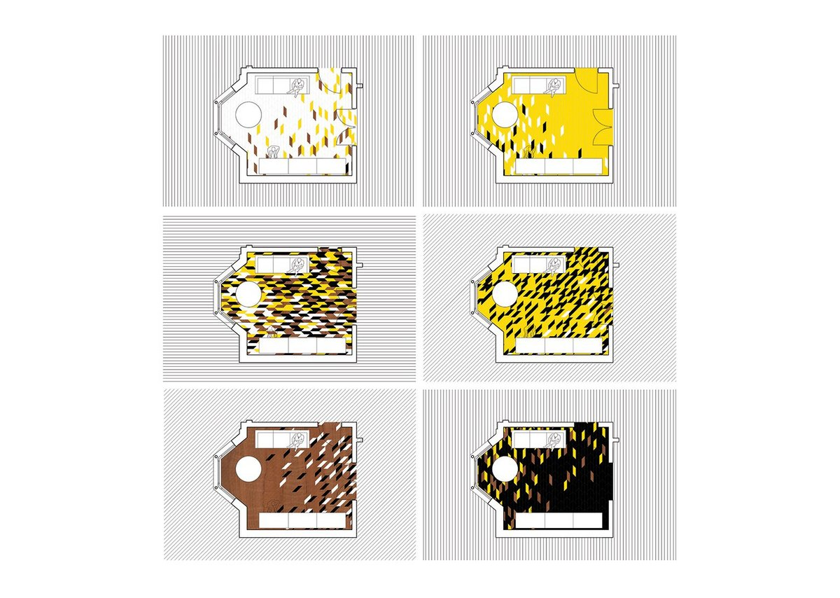 WHAT_Architecture's concept allows customers to select different parts of the pattern map to suit their room. The practice's designs were put into three repeat panels for the competition final.