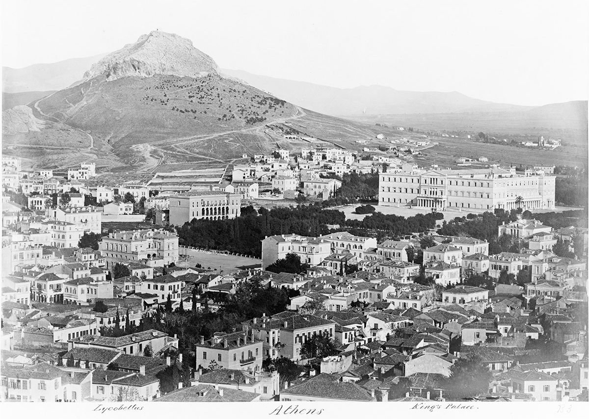 Panoramic view of Athens showing the Old Royal Palace and Mount Lycabettus, taken between 1850 and 1880.