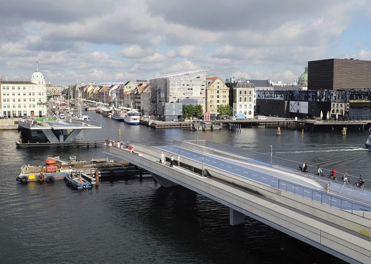 The bridge retracted provides a 50m wide navigation channel for maritime traffic.