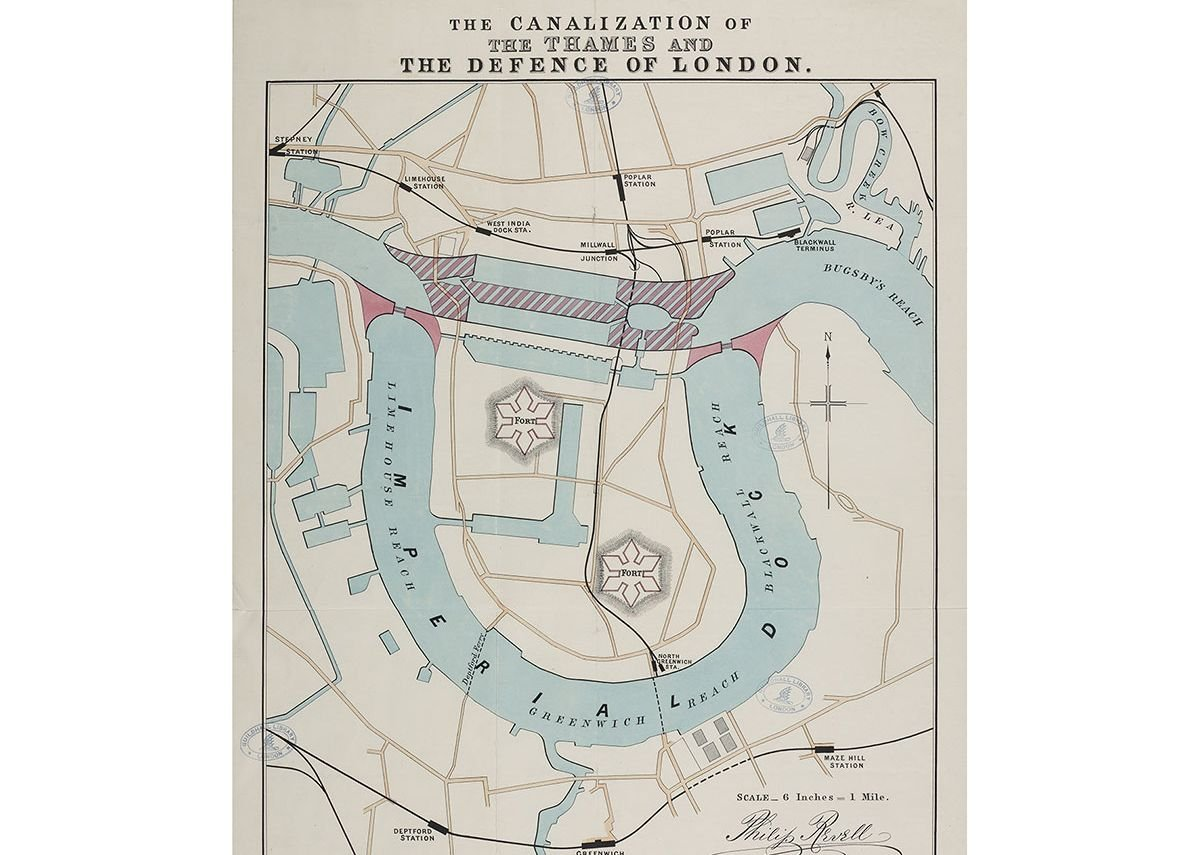 Philip Revell's Plan for The Canalization of the Thames and the Defence of London, c1880 © London Metropolitan Archives.