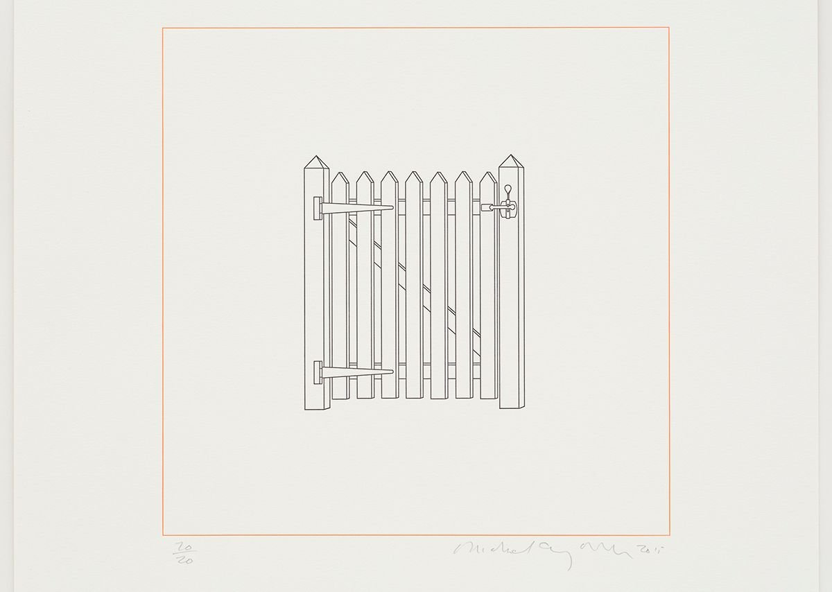 Gate, Michael Craig-Martin, 2015, Letterpress editioned print, limited edition number of 20, 48.2 x 48.2 cm, courtesy of Michael Craig-Martin and Alan Cristea Gallery.